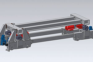 Transport trolley for sheet metal stacks in a rolling mill. Payload 150 t
