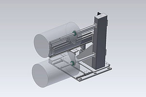 Removal stand with pushing device for completed rolls on a film cutting system