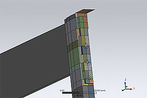 Strength varification of a shelf support for multilevel shelving systems using the Finite Element Method (ANSYS). Linkage of the component with shell and beam elements. Calculation taking into account the bolt preload and frictional contact. Validation of the results in a load test.
