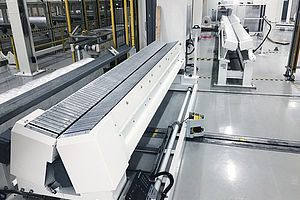 Conveyor line for foil coils, with removal wagon and coil scale. Max. load 5mt